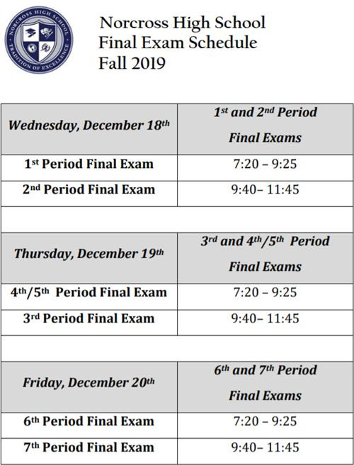 FALL FINAL EXAM SCHEDULE